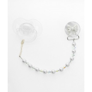 Crystal Dream White Bow with Baby Swarovski Pearls and crystals Pacifier Clip (C16)