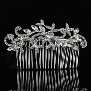 Sunshinesmile Leaf Crystal Bridal Hair Combs Hairpin Tiara Wedding Hair Accessories Hair Jewelry