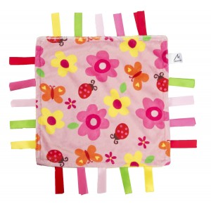 Maven Gifts Maven: Soothing Security Blanket - Yellow and Pink with Flowers and Butterflies