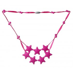 ComfyBaBeads ComfyBaby Beads 'Falling Stars' Silicone Teething Necklace BPA Free - Cotton Candy Pink