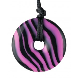 Teething Bling Hot Pink Zebra Pendant Teether Necklace