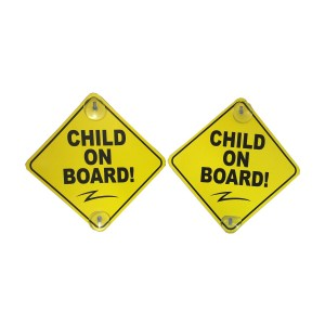 "Cool Big Deal Child on Board - 2 Pack - Large 6""x 6"" Yellow Car Signs with 2 Attached Suction Cups."