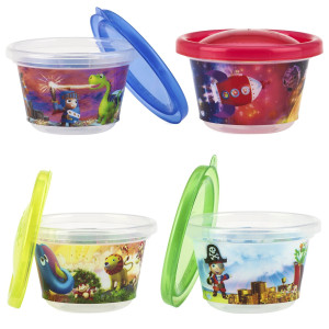Nuby Stackable Printed Wash or Toss Snack Cups with Lids, 4 Count