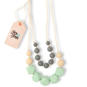 Fox and Finn 'Isabella' Silicone Teething Necklace for Babies   Safety Knotted Silk Rope   Does Not Pull Hair Out   14 Inch Drop (mint + smoke + latte)