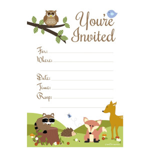 m&h invites Woodland Animals Baby Shower or Birthday Invitations - Fill In Style (20 Count) With Envelopes