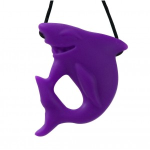 Stimtastic Chewable Silicone Shark Pendant Nontoxic BPA and Phthalate Free, Lavender