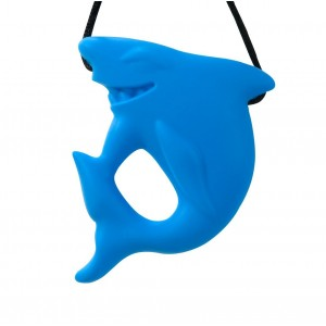 Stimtastic Chewable Silicone Shark Pendant Nontoxic BPA and Phthalate Free, Aqua