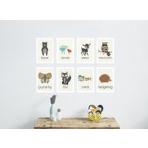Children Inspire Design Nature Animal Mini Print Collection, 5x7 Wall Cards, Nursery Wall Art Decor, Kid's Art Decor, Gend