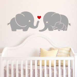 "Decal the Walls Elephant Family Wall Decal with Red Heart (Grey) - 9"" X 28"""
