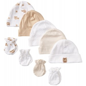 Gerber Unisex-Baby Newborn Bears Caps and Mitten Bundle (Pack of 5 and 4)