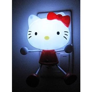 A.Shine Cartoon Hello Kitty Wall Stickers Plug-in LED Photoreceptor Night Light with Light Sensor Control for Bedroom Decoration