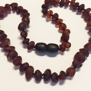 """Genuine Unpolished CHERRY Baltic Amber Baby Teething Necklace by Nature's Calm 12""""Unisex) Reduce Drooling Teething Pain Safety Knotted Screw Clasp"""