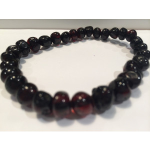 Healing Bracelet 8 inch arthritis carpal tunnel swelling headache Baltic Amber for Adults Polished Black Cherry Stretch Woman Certified