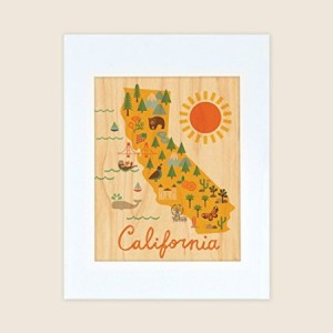 Petit Collage Unframed Print on Wood Wall Decor, California Map, Large