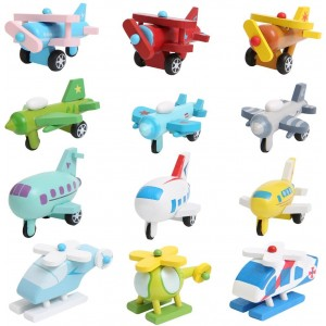 WM Wooden Helicopter Jet Aircraft for Kids Wooden Toy 12 Pcs/set