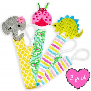 LaBambiBaby Pacifier Holder Clip for Girls and Boys - 3 Pack Set, Best for Soothie, Stuffed Animal - Leash Cli