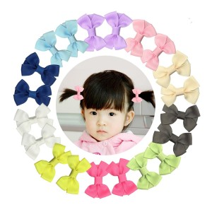 "Shemay 2"" Tiny Solid Hair Bow Clip Barrette for Little Baby Girl Toddler Pigtails"