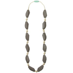 Mama & Little Mama and Little Ophelia Silicone Baby Teething Necklace for Moms - Nursing Necklace in Pebble - Te