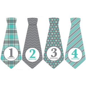 Penny & Prince Designs LLC Monthly Baby Ties, Baby Boy, Gray Blue, Grey, Month Necktie