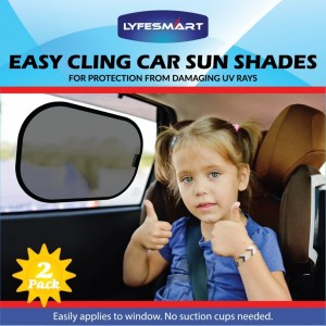 Car Sun Shade (2 Pack) Window Shade, Black, Adjustable, Visor, Cling to Side window using static. Sunshade blocks over 97% of Harmful UV Rays. Protect infant, baby, toddler and kids from heat and glare