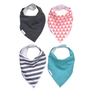 Biralee Baby Bandana Bibs, Extra Absorbent Unisex 4-pack (Solids and Patterns)