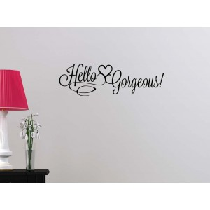 Simple Expressions Arts Hello Gorgeous cute Hearts Happy Love girl's room college dorm vinyl saying lettering wall art ins