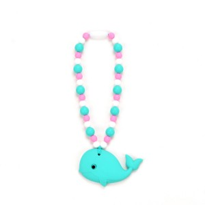 Nummy Beads - Whale Baby Carrier Teething Accessory - Turquoise and Pink Teether Toy