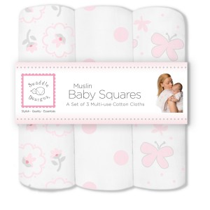SwaddleDesigns Muslin Squares, Butterfly Fun (Set of 3 in Pastel Pink)