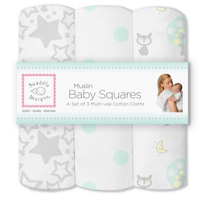SwaddleDesigns Muslin Squares, Woodland Fun (Set of 3 in SeaCrystal)