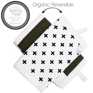 Kaydee Baby Reversible Organic Cotton Teething Pads w/ Polyester Fleece Inner Lining for Baby Carriers for Girls and Boys (Arrows/Plus) - 2 Pack