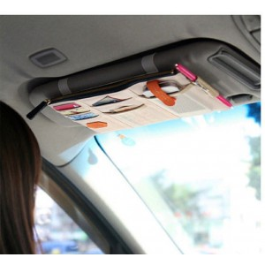 iSuperb Canvas Multi-function Car Space Sun Visor Organizer Card Phone Storage Pouch Bag (Beige)