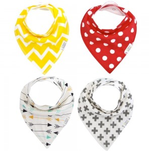 KishyKashy Baby Bandana Bibs with Snaps for Babies and Toddlers 4-pack of Unisex Absorbent for Modern Baby Gi