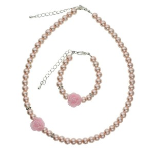 Crystal Dream Pink Simulated Pearls Flower Girl Necklace and Bracelet Set