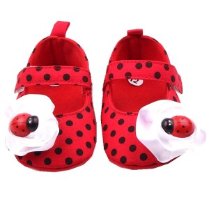 M2cbridge Baby Girl's Bow Dress Shoe Infant Toddler Pre-walker Crib Shoe (12-18 Months, Red ladybug)