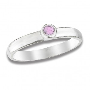 Beloved Child Goods Sterling Silver Baby Ring, Pink size 1