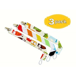 Little Busy Baby Soothie Pacifier Holder For Your Baby, Newborns and Toddlers 3 Pack Fun Bright Colors With Animal
