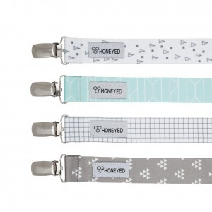 Pacifier Clip by Honeyed -set of 4- Unisex Pacifier Holder for Girls and Boys with Modern Design,