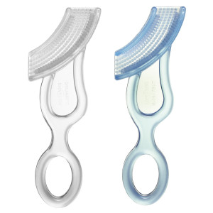 BaBuddy Baby Buddy Baby's 1st Toothbrush, Blue-Clear (Pack of 2)