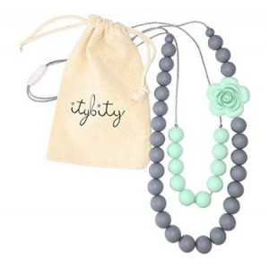 Itybity Baby Teething Necklace for Mom, Silicone Chew Beads, 100% BPA Free (Mint/Gray)