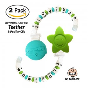 LilTeether Teething Toy + Pacifier Clip + 100% Silicone Beads made in FDA Facility + BPA Free = THE Best Teet