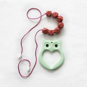 "BayBay Beads- Silicone Teething Necklace for Mom to Wear and Baby to Chew ""Ruby Red"" with Bonus Owl Teether - Safe and Non-toxic - Breastfeeding Mums Approve"