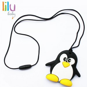 lilu Food Grade  Silicone Safe Eco Baby Penguin Teether - Non-toxic, BPA, PVC, Phthalate, Lead and Late