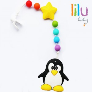 lilu Food Grade  Silicone Safe Eco Penguin Baby Teether Pacifier Clip Holder - Non-toxic, BPA, PVC, Pht