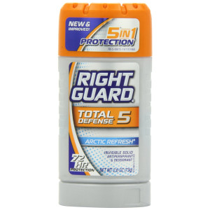 Right Guard Total Defense 5 Antiperspirant Deodorant, Artic Refresh, 2.6 Ounce (Pack of 6)
