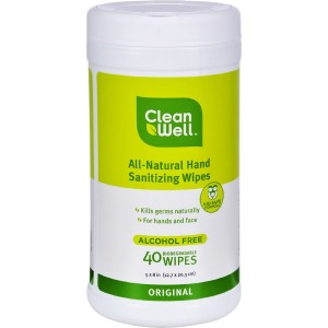 CleanWell All-Natural Hand Sanitizing Wipes Original - 40 Wipes - Pack of 3