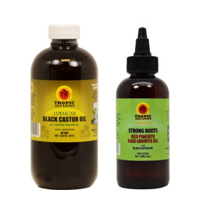 """Tropic Isle Living Jamaican Black Castor Oil 8oz and Strong Roots Red Pimento Hair Growth Oil 4oz """"SET"""""""