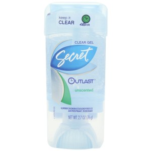 Secret Outlast Antiperspirant/Deodorant, Clear Gel, Unscented, 2.7 Oz (Pack of 4)
