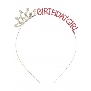 HW Tiara Collection Birthday Girl Tiara Headband Wire Head Band Pink and Clear Rhinestones Crown