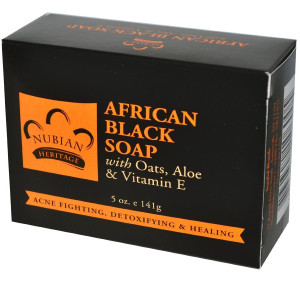 Nubian Heritage African Black Soap With Shea Butter Oats and Aloe Deep Cleansing 5 Oz (Pack of 3)