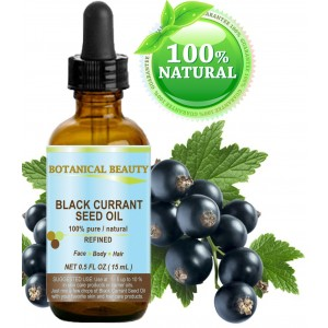 Botanical Beauty BLACK CURRANT SEED OIL. 100% Pure / Natural / Undiluted / Refined Cold Pressed Carrier oil. 0.5 Fl